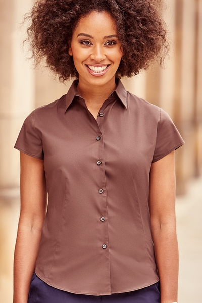 LADIES SHORT SLEEVE FITTED STRETCH SHIRT