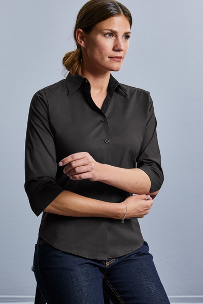 LADIES' 3/4 SLEEVE FITTED STRETCH SHIRT